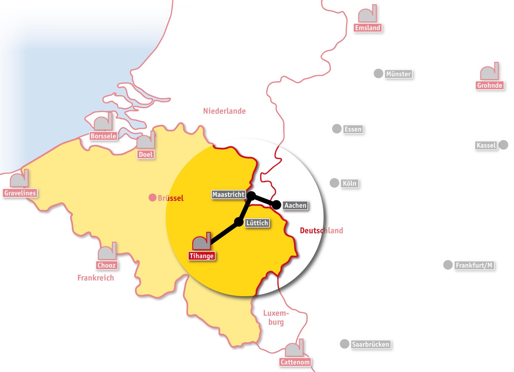 Aachen Karte Stadtteile.Tihange Menschenkette Ausgestrahlt De