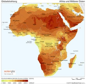 Afrika: Globale Sonneneinstrahlung