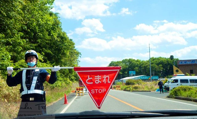 Polizei-Kontrolle bei Fukushima